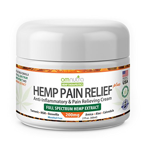 Organic Pain Relieving Cream with 200mg Full Spectrum Hemp Extract Cannabis Sativa Oil TURMERIC MSM BOSWELLIA ARNICA 2oz for Nerve Damage Rheumatoid Arthritis Relief Back Neck Knee Joint Muscle Repair