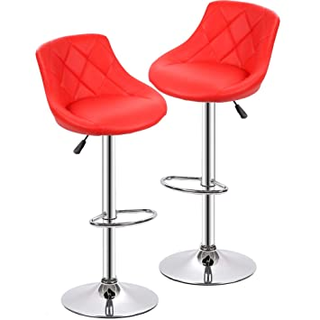 Incredible Bestmassage Air Lift Adjustable Swivel Bar Stools With Seat Back Pad Set Of 2 Short Links Chair Design For Home Short Linksinfo