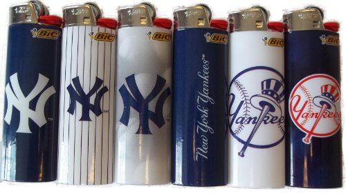 6pc Set BIC New York Yankees MLB Officially Licensed Cigarette Lighters (Assortment) ()