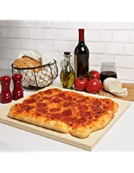 """Pizza Stone For Oven, Grill, Bbq Extra Thick Rectangular Pizza Baking Stone Xl 16"""" x 14"""" Pan For Perfect Crispy Crust"""