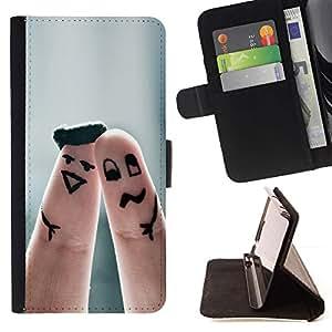 Momo Phone Case / Flip Funda de Cuero Case Cover - Cute Finger Couple - Sony Xperia M2