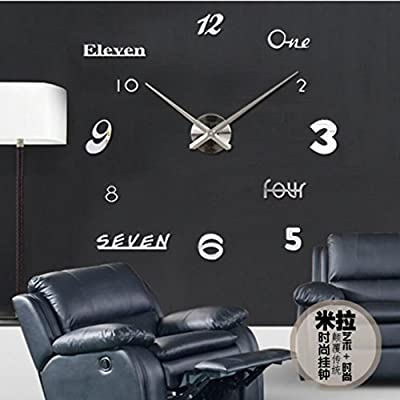 Colorido moderno elegante/Inglés, digital, espejo, pegatinas de pared/Home cocina/salón Reloj de pared
