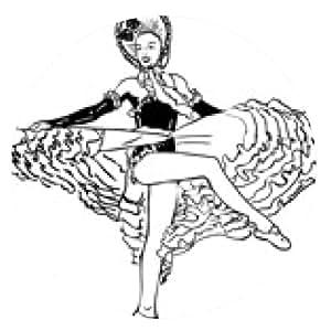 alfombrilla de ratón bosquejo blanco y negro del vector de una niña bailando el cancán - ronda - 20cm