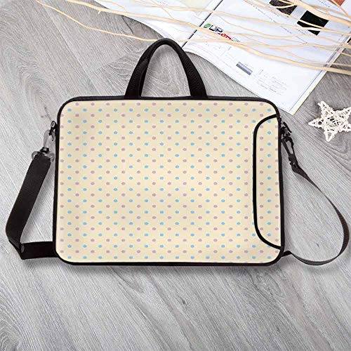 (Polka Dots Large Capacity Neoprene Laptop Bag,Retro Polka Dots Small Coin Sized Little Spots Old Epochs Fashion Pattern Laptop Bag for 10 Inch to 17 Inch Laptop,15.4