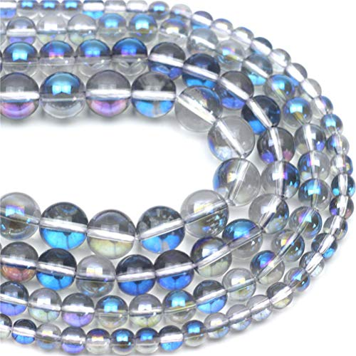 """Oameusa 12mm Electroplated Crystal Blue Beads Round Beads Gemstone Beads Loose Beads Agate Beads for Jewelry Making 15"""" 1 Strand per Bag-Wholesale"""