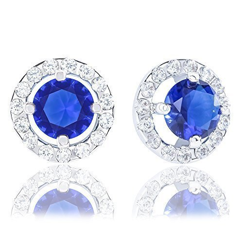 ORROUS & CO Legacy Collection 18K Gold Plated Illusion Solitaire Cubic Zirconia Halo Stud Earrings