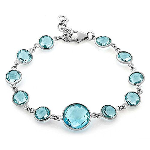 (Gem Stone King 925 Sterling Silver Blue Topaz Tennis Bracelet 30.00 Cttw Round Checkerboard Cut Gemstone Birthstone 7 Inch with 1 Inch Ext)