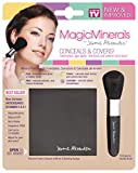 MagicMinerals by Jerome Alexander (2pc Kit) - Mineral Powder Compact with Mirror, and Professional Stubby Brush - Foundation, Concealer and Corrector All-In-One! Medium Shade