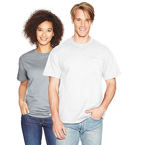 Hanes Mens Beefy-T 100% Cotton T-Shirt with Pocket, Large, White