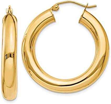 14k Yellow Gold 1.5mm Thick Square Tube Diamond-Cut Round Hoop Earrings 35mm