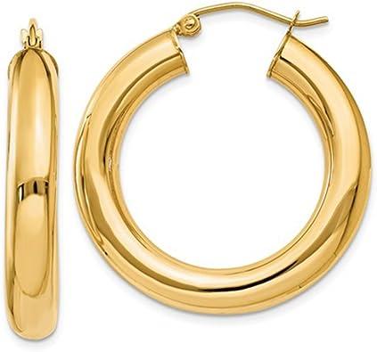 14k Yellow Gold 2mm Thick Diamond-Cut Round Tube Hoop Earrings 35mm