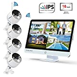 "YESKAMO Wireless Security Camera System Outdoor [ Floodlight & 16"" Monitor] 1080p Spotlight WiFi IP Cameras with 16"" Full HD IPS Monitor for Home Surveillance Kit Support 2 Way Audio"