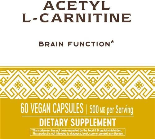 Nature's Way Premium Quality Acetyl L-Carnitine 500 mg Potency, 60 Vegetarian Capsules, Pack of 2