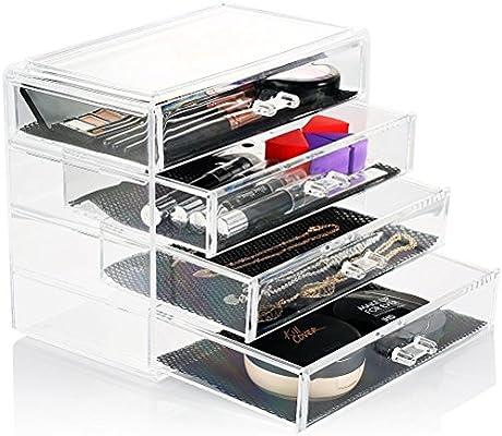 HBF 4 Cajones Organizador Maquillaje Acrilico Transparente Caja ...