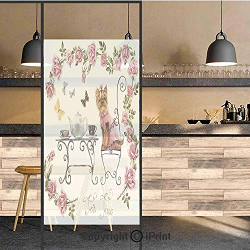 (3D Decorative Privacy Window Films,Yorkshire Terrier in Pink Dress Having a Tea Party Tea Time Butterflies Roses Decorative,No-Glue Self Static Cling Glass film for Home Bedroom Bathroom Kitchen Offic )