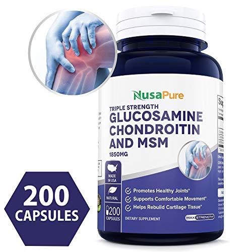 Glucosamine Chondroitin MSM 1850mg 200 caps (Non-GMO & Gluten Free) Joint Pain Relief Supplement Pills - Anti-Inflammatory for Your Back, Knees, Hip and Hands - 100% Money Back Guarantee!