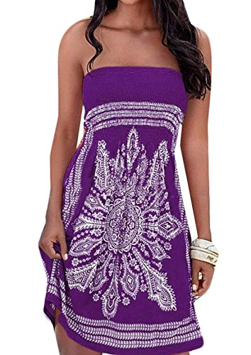 WANSHIYISHE Women's Summer Strapless Dress Floral Print Island Sundress Purple US L