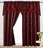 """Burgundy Curtain Panel with Attached Waterfall Valance 54"""" X 84"""" Tkdecor"""