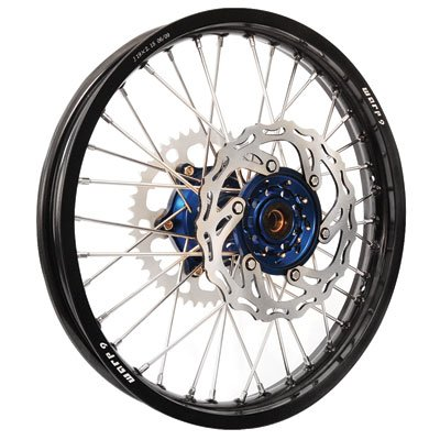 Warp 9 Complete Wheel Kit - Rear 18 x 2.15 Black Rim/Blue Hub/Silver Spokes and Nipples for Yamaha WR426F 2001-2002