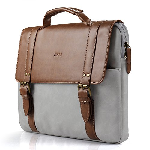 Faux Leather Briefcase (iDOO Faux Leather Laptop Bag Briefcase with Elegant Business Casual Style for 13-13.3 inch MacBook, Brown)