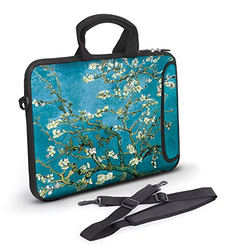Anyshock Ultraportable Water-Resistant Neoprene Laptop Shoulder Bag Carrying Case Sleeve with Handle Extra Pocket Messenger Computer Bag Compatible 13-13.3 inch MacBook Air Pro, - Carrying Neoprene Case