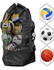 AvoDovA Extra Large Mesh Ball Bag, Adjustable Drawstring Ball Bag Waterproof Equipment Bag with Strap for Basketball Volleyball Soccer Rugby Net Ball Carrying Storage Sack Holds 15 Balls