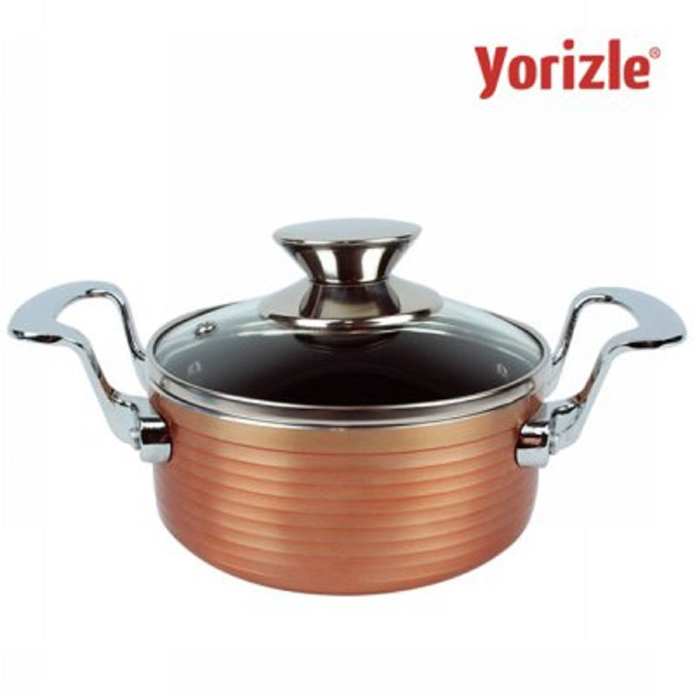 Yorizle Premium Quility Total Kitchenware Copper Temptation Lovely Pot Single Small Mini Pot 14cm ceramic coating - Luxurious stainless Steel Handle