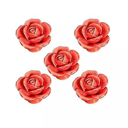 CSKB Pink 5 PCS 40mm Round Rose Ceramic Door Knob follow pattern lovely Handle Pull Knobs Door Cupboard Locker for kid's room Drawer,Cabinet,Chest, Bin, Dresser, Cupboard, Etc with Screws AX-AY-ABHI-97143
