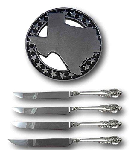 Grande Baroque Wallace Sterling Steak Knife Set 4pc Texas Size Custom & Trivet