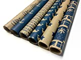 Kraft and Blue Wrapping Paper Set - 6 Rolls - 6 Birthday Patterns - 30'' x 120'' per Roll