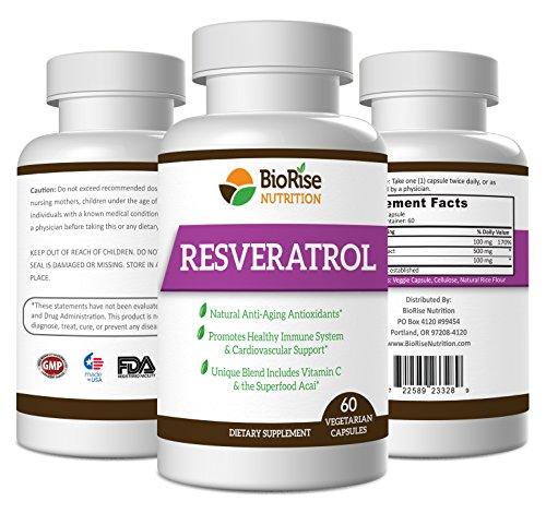 BioRise nutrición Resveratrol Superblend con vitamina C y antioxidante de gran alcance de Acai - 1400mg suministro de 30 días - súper - Extracto de semilla de uva para proporcionar compatibilidad con el sistema Cardiovascular e inmunológico