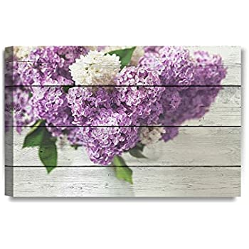 DECORARTS - Canvas Prints Wall Art - Fresh Lilac Flowers on Vintage Wooden Background .Giclee Print on Canvas for Wall Decor. 24x16x1.5
