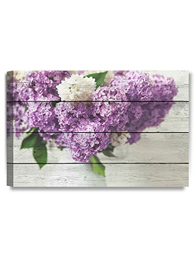 (DECORARTS - Canvas Prints Wall Art - Fresh Lilac Flowers on Vintage Wooden Background .Giclee Print on Canvas for Wall Decor.)