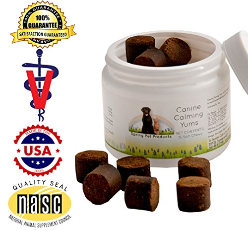 Spring Pet Canine Calming Yums 60 Count Jar ~ High Potency All Natural Veterinary Formula to Help Reduce Anxiety and Stress in Dogs and Puppies ~ Soft, Tasty Bacon Flavored Treat Made in USA