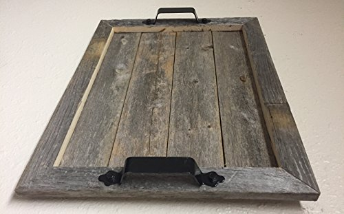 Barnwood Rustic Wood Serving Tray with Black Handles Authentic Weathered Wood, Large