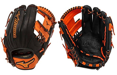 Mizuno GMVP1154SE4 MVP Prime SE Gloves, Black/Orange, Right Hand Throw (Orange And Black Baseball Gloves)