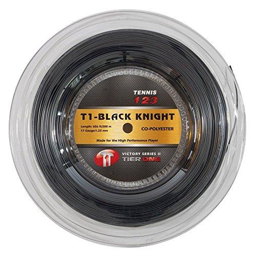 Tier One Black Knight Co-polyester Tennis String (Reel - Black, 17 gauge (1.23 mm) - 200 m reel)