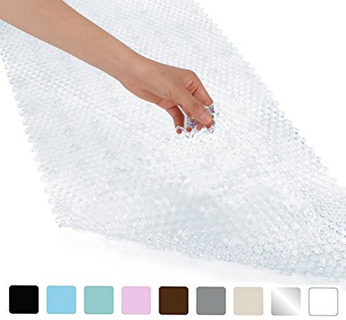 Yimobra Patented Design Bath Tub and Shower Mat Extra Long 35 x 16 inch,Anti Bacterial,Phthalate Free,Latex and Machine Washable Materials,Clear (More Colors and Size for Choice)