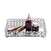 Feyarl Crystal Beads Cosmetic Tray Rectangle Jewelry Organizer Tray Mirrored Decorative Tray (Silver)