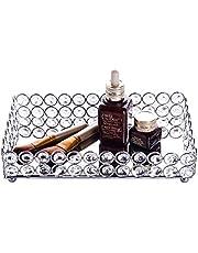 Feyarl Crystal Beads Cosmetic Round Tray Jewelry Organizer Tray Mirrored Decorative Tray (Silver) (Round)