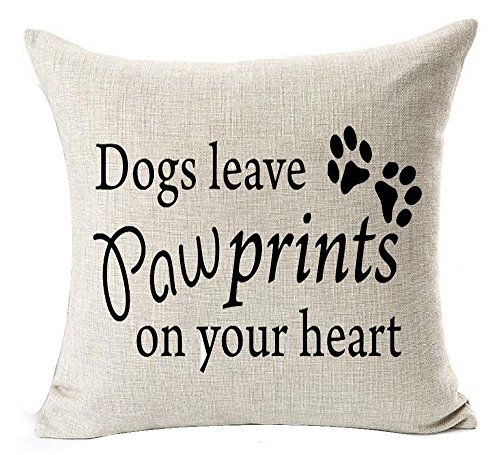 Andreannie Best Dog Ever Dog Leave Paw Prints On Your Heart Cotton Linen Decorative Throw Pillow Cover Cushion Case Square 20X20 Inches Case Cushion Cover NEW Home Decorative Square 20 X 20 Inches ¡