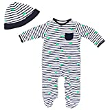 Little Me Baby Boys Green Whale Blue and White Stripe Footie Pajamas and Hat 6M