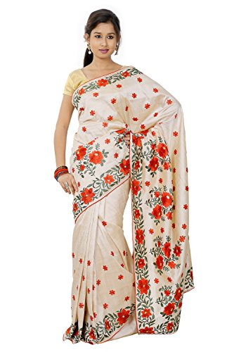 B3Fashion Indian Handloom Traditional Assam Soft silk Embroidered Saree by B3Fashion