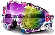 Dirt Bike Goggles,Anti-Fog Motorcycle Goggles,Adjustable UV Protective Ski Goggles with OTG