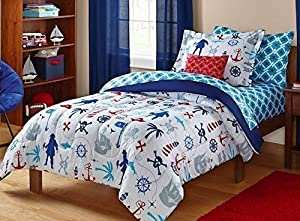 Keeco Kids Pirate Nautical Skull Sea Themed Bedding Set White Red Blue Twin 5