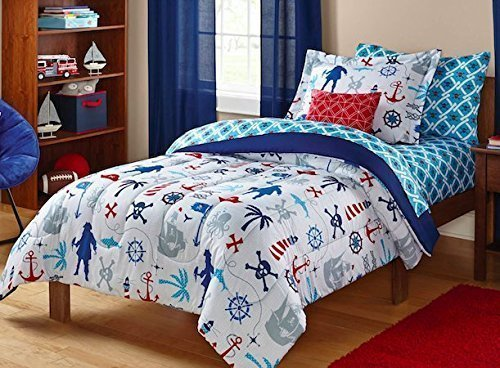Keeco Kids Pirate Nautical Skull Sea Themed Bedding Set, White/Red/Blue, Twin, 5 Piece Bed in a Bag
