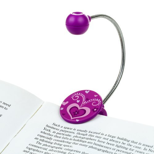 Disc LED Reading Light by WITHit - Purple - LED Book Light with Chrome Neck for Books, E-Reader and E-Book Light
