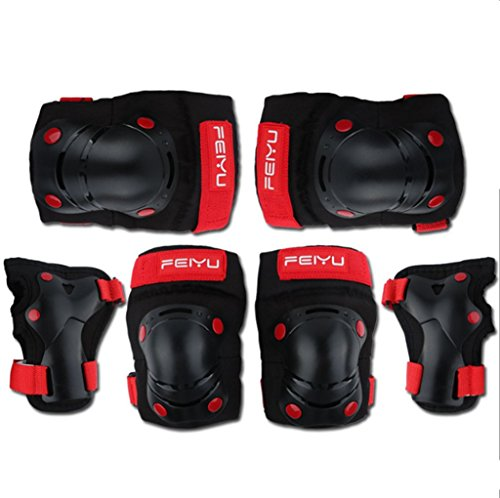 Genma0A Kids Ski Knee Pads Bike Knee Pads and Elbow Pads with Wrist Guards Protective Gear Set for Scooter, Skateboard, Bicycle, inline skatings by Genma0A