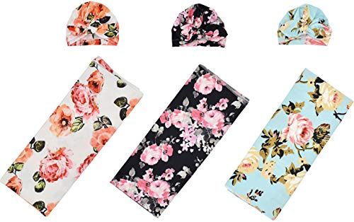 3 Sets Baby Swaddle and Hat Set Flower Print Newborn Receiving Blanket Headband Set, Baby Swaddle Wrap Floral Baby Blankets for Girls and Boys. (Receiving Blankets & Hats)