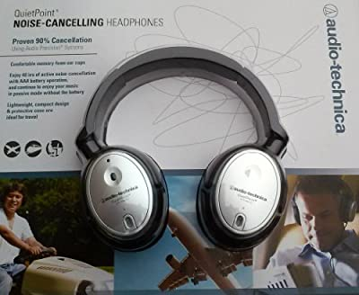 Audio-Technica ATH-ANC7B Silver QuietPoint Active Noise-Cancelling Closed-Back Headphones